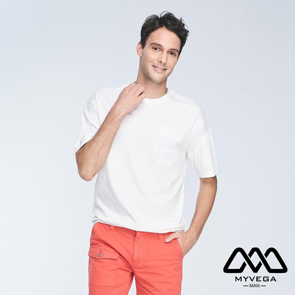 MYVEGA MAN可調節下襬剪接變化短袖T恤-白