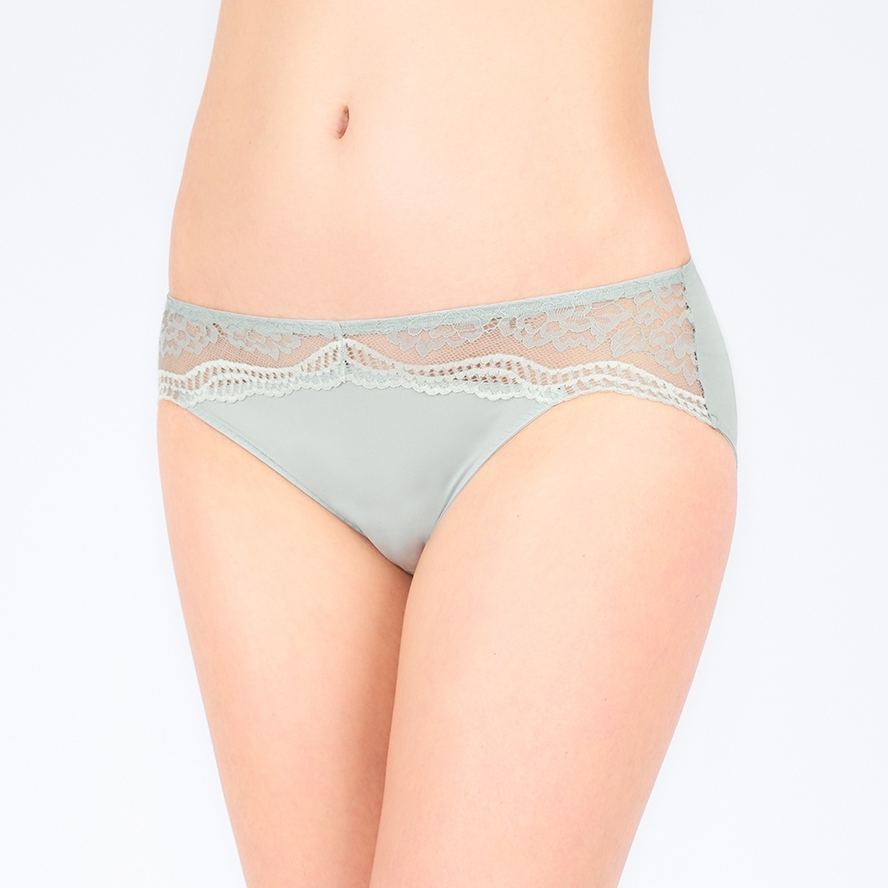 黛安芬-美型嚴選系列 包臀中腰三角內褲 M-EL 霧綠色