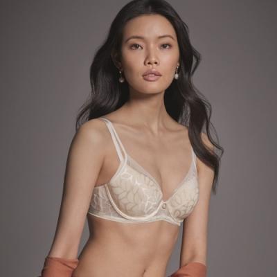 黛安芬-Premium閃耀純粹系列 3D空氣棉緹花無痕透氣 D罩杯內衣 典雅白