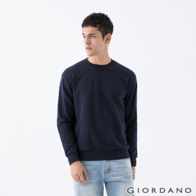 GIORDANO 男裝簡約素色大學T恤 - 06 標誌海軍藍