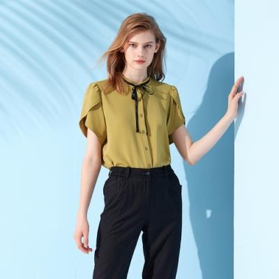 【MASTINA】領結造型袖-女短袖襯衫(二色/版型適中)