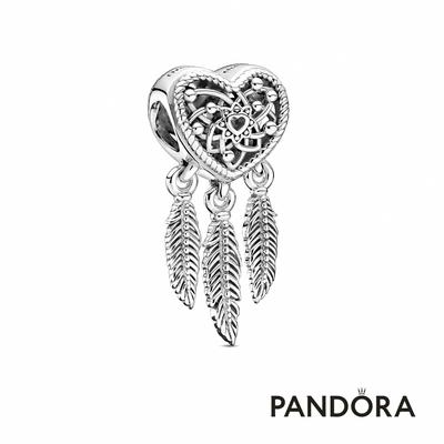 【Pandora官方直營】鏤空心形羽毛捕夢網串飾