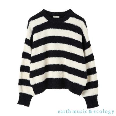 earth music 毛絨絨橫條紋圓領針織衫