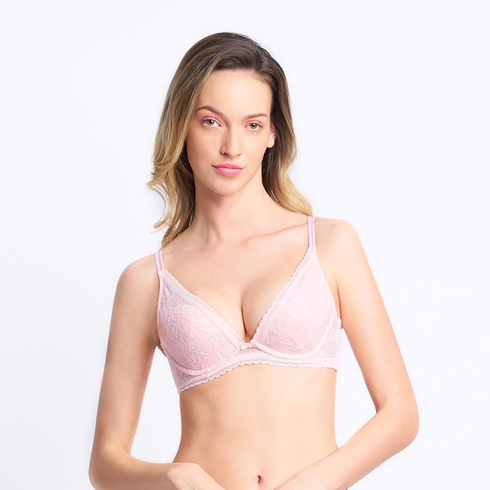 黛安芬-俏麗佳人系列 記憶枕低V集中 A-C罩杯內衣 玫瑰粉