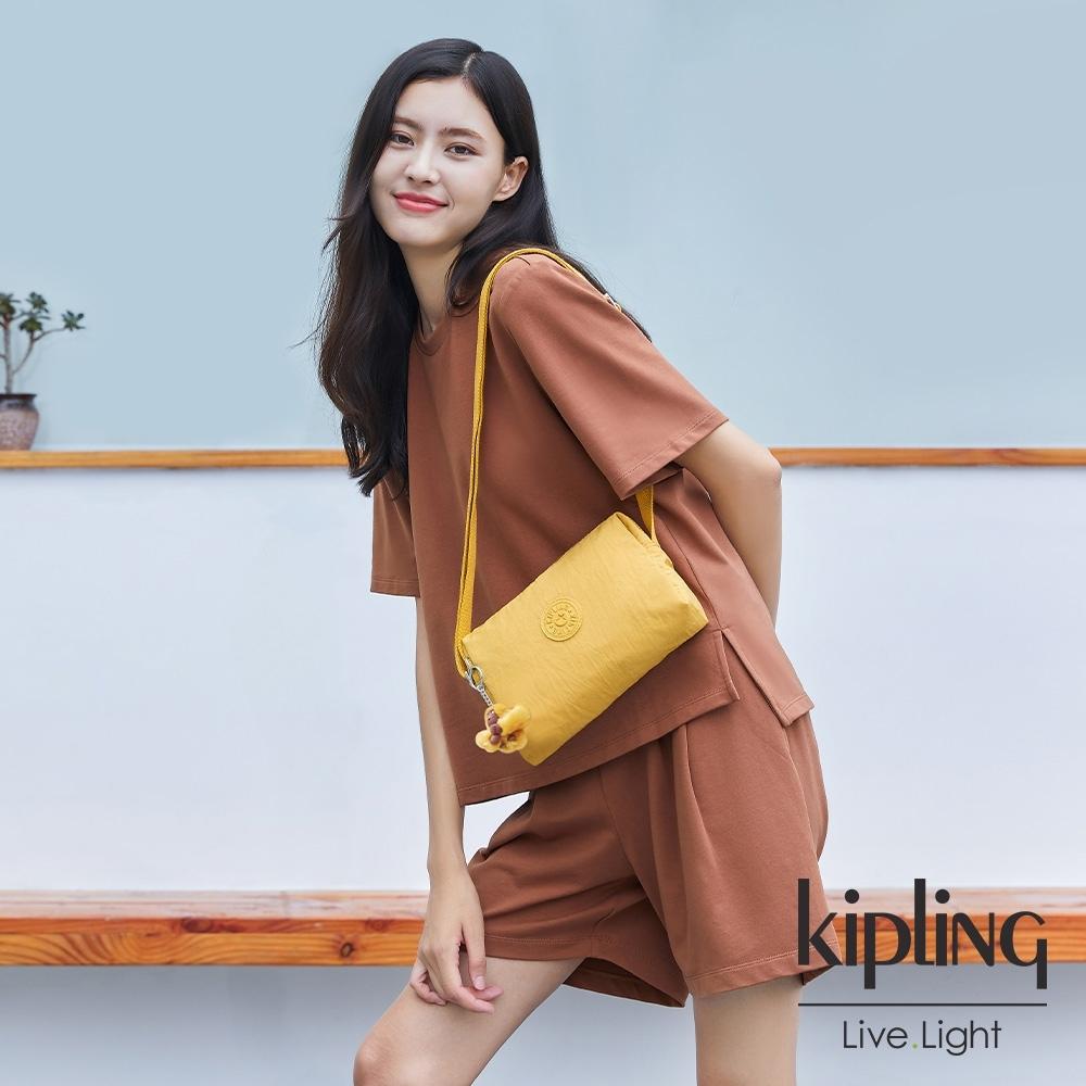Kipling 鮮豔太陽黃小巧簡約拉鍊方包-COLLEEN