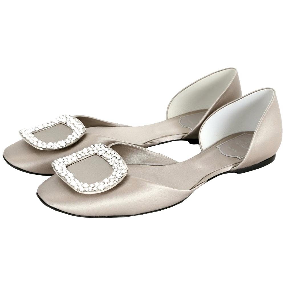 Roger Vivier Chips 水晶鑽方框絲緞芭蕾舞鞋(灰色)