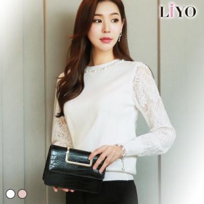 LIYO理優-手工珍珠圓領蕾絲拼接袖彈力修身針織衫上衣E817008