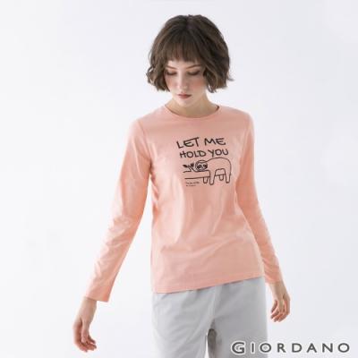 GIORDANO  女裝Joy Life印花T恤 - 61 灰粉紅