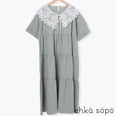 ehka sopo  【SET ITEM】鏤空蕾絲領+分層式純棉短袖洋裝
