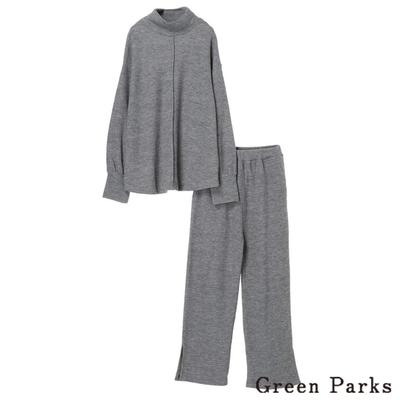 Green Parks 【SET ITEM】簡約高領折線上衣+鬆緊開叉寬褲