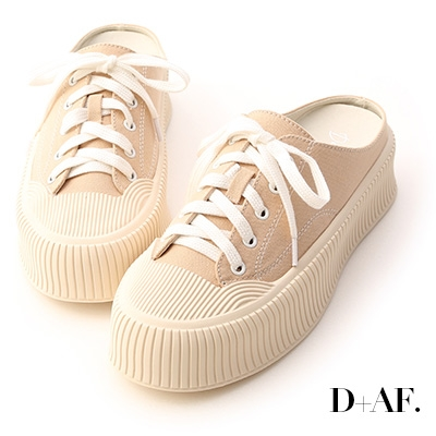 D+AF 樂活主題.休閒帆布厚底穆勒鞋*杏