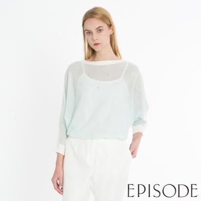 EPISODE - 清爽薄荷綠透視一字領蝙蝠袖釘珠針織衫上衣
