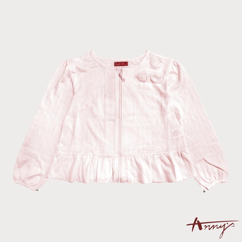 Annys安妮公主-立體玫瑰花春夏款純棉拉鍊外套*1370粉紅