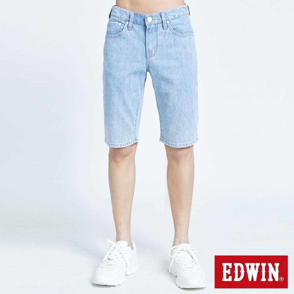 EDWIN EDGE涼感牛仔短褲-男-重漂藍