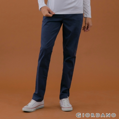 GIORDANO 男裝超彈力基本款錐形長褲-66 海軍藍