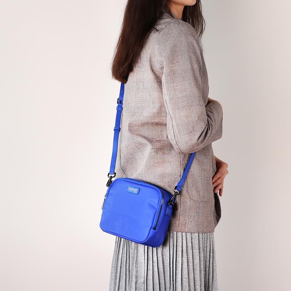 法國時尚Lipault Plume Basic迷你尼龍方形斜背包(異國藍)
