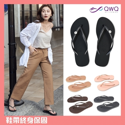 [鞋帶終身保固]QWQ女款水鑽防滑夾腳拖鞋-雨天涼拖鞋-多色任選