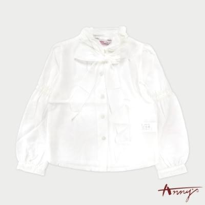 Annys安妮公主-氣質婉約領口綁帶澎澎袖秋冬款長袖襯衫*7262白色