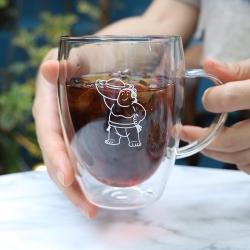 大金寶寶 玻璃隔熱雙層杯禮盒 把手款