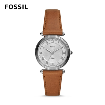 FOSSIL LYRIC 文學女子的抒情詩詞石英腕錶-銀X紅咖啡皮革錶帶 32MM ES4706