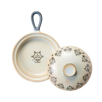 日本Meister Hand COOKPAN 單柄陶製烤盤 (含蓋) 白色花