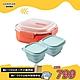 [超值1+2] 可蒸可煮PP微波保鮮盒/三分隔+矽膠粉彩摺疊保鮮盒500ml*2 product thumbnail 1