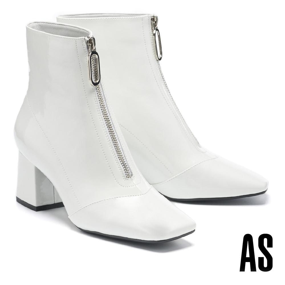 短靴 AS 摩登都會金屬拉鍊造型軟漆皮方頭高跟短靴-白