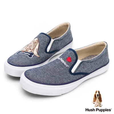 Hush Puppies 巴吉度狗Q版咖啡紗休閒便鞋-藍色