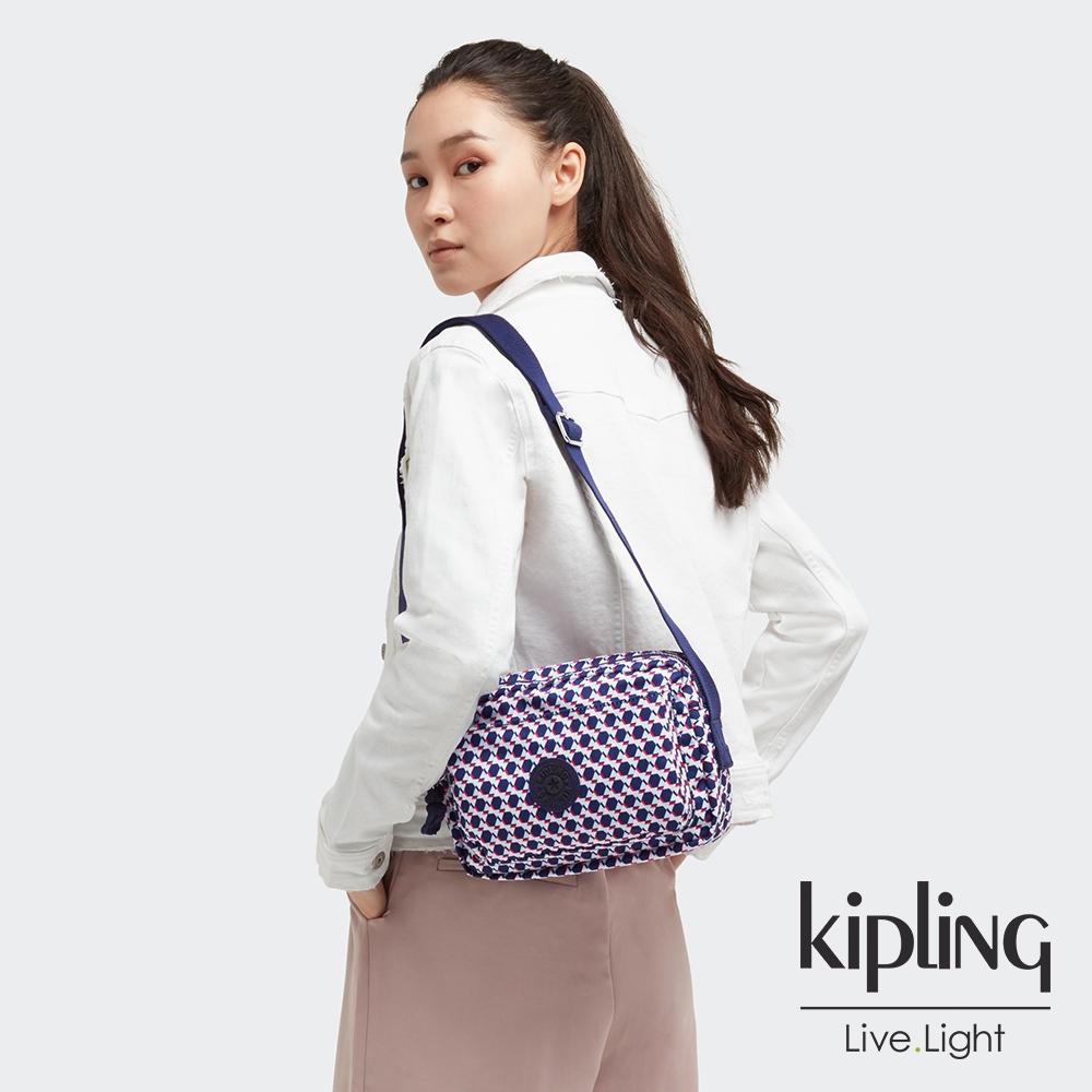 Kipling 典雅幾何印花多層隨身斜背包-ABANU M