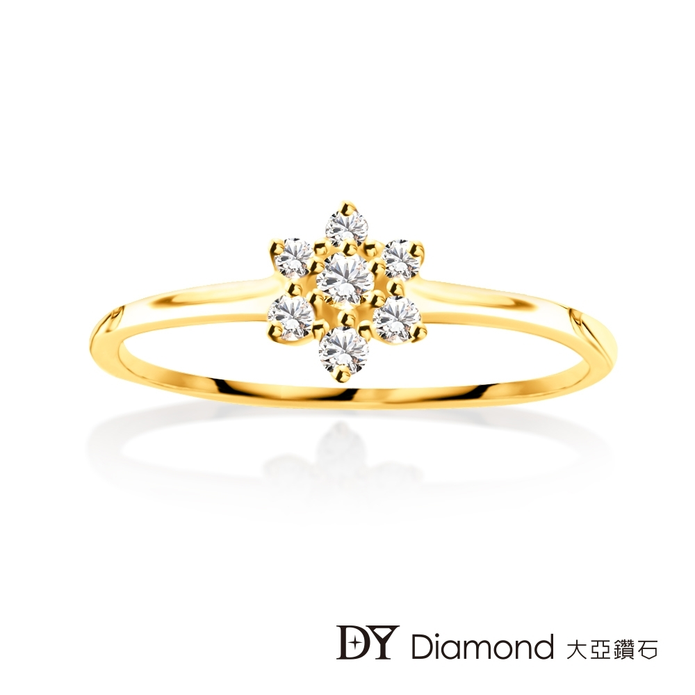 DY Diamond 大亞鑽石 L.Y.A輕珠寶 18黃K金 捧花鑽石線戒