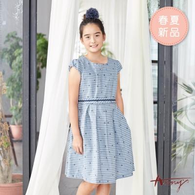 Annys安妮公主-童趣小圖樣橫條紋春夏款綁帶公主袖洋裝*9142藍色