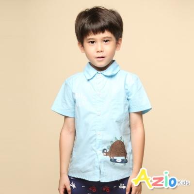 Azio 男童 上衣 可愛劍龍溜滑板印花素色短袖襯衫(藍)