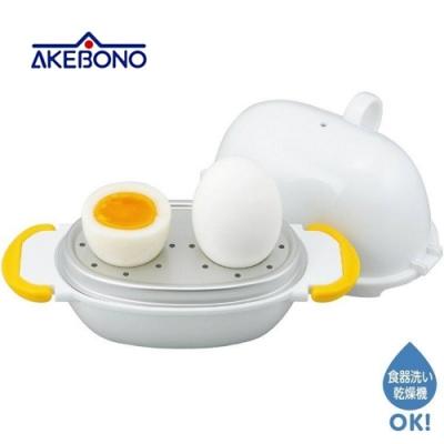 日本製造AKEBONO神奇微波水煮蛋器RE-277(2個用;快速煮出近溫泉蛋.溏心蛋.半熟蛋)曙産業ゆでたまご器RE-277 2個用半熟も固ゆでも思いのまま。卵と水を入れて電子レンジで加熱