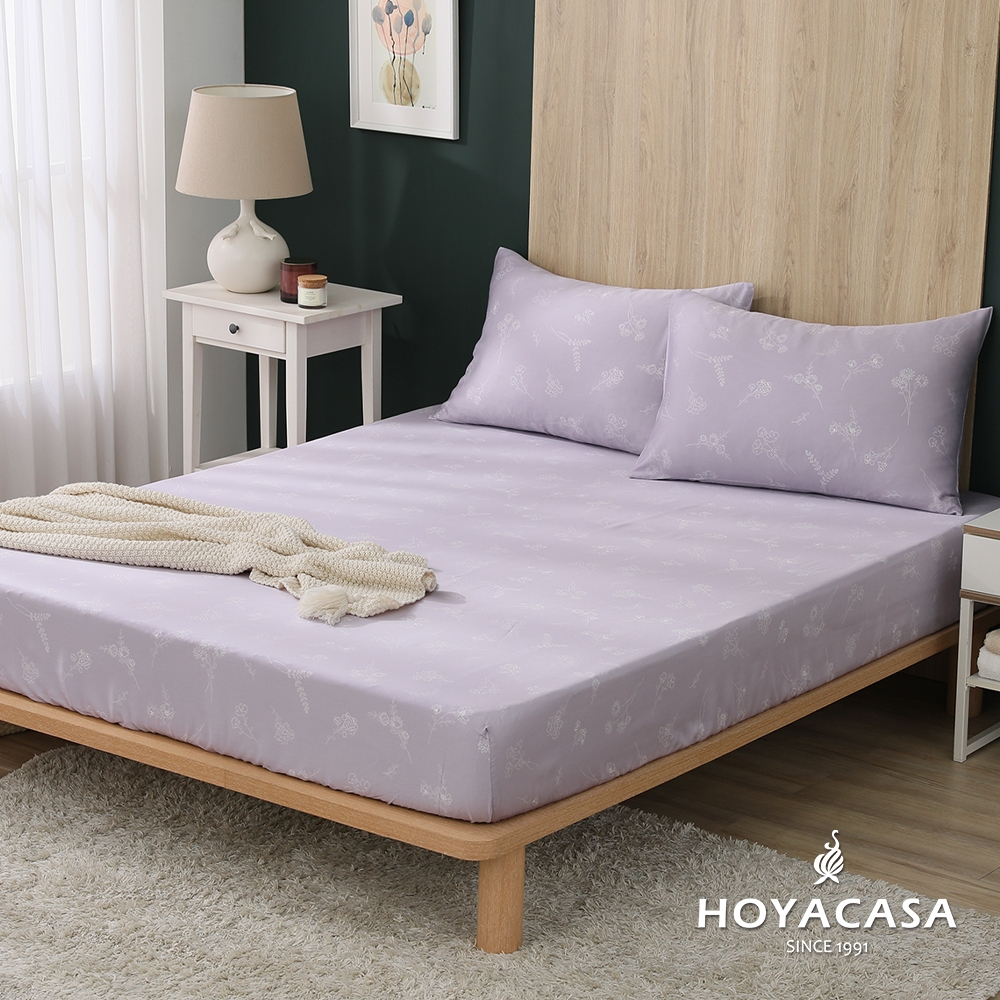 【HOYACASA 】100%天絲枕套床包三件組-多款任選(雙人) (紫蕾)
