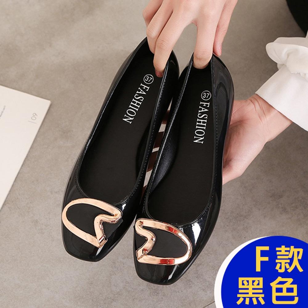 [時時樂限定]-KW韓國美鞋館 晴雨兩穿防水懶人鞋涼鞋涼跟鞋 (F款-黑)