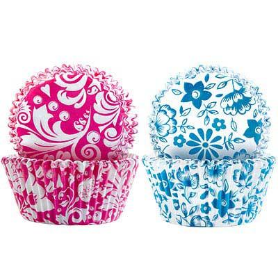 IBILI Sweet蛋糕紙模100入(紅藍花卉7.5cm)