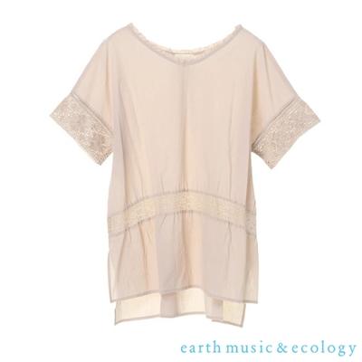 earth music  前短後常鏤空蕾絲拼接V領上衣