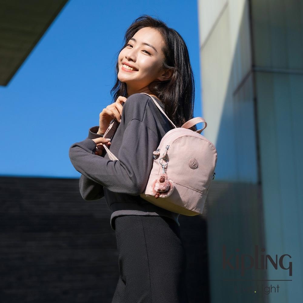 Kipling 氣質玫瑰粉隨身兩用斜背包-IVES MINI