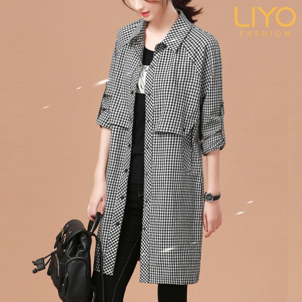 外套-LIYO理優-MIT格紋風衣式長版外套