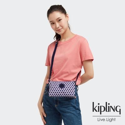 Kipling 典雅幾何印花三夾層配件包-CREATIVITY XB