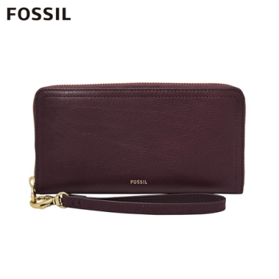 FOSSIL LOGAN 真皮系列RFID拉鍊零錢袋長夾-無花果紫紅色 SL7928503