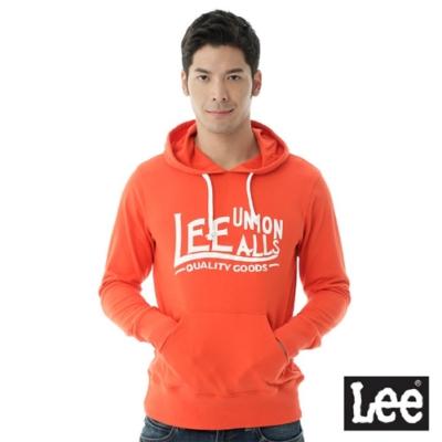 Lee 連帽厚T 白色文字印刷-男款-橘