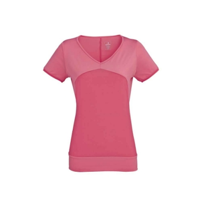 法國【EiDER】女專業排汗透氣抗UV短V領衫 / 6EIV3558-粉嫩紅
