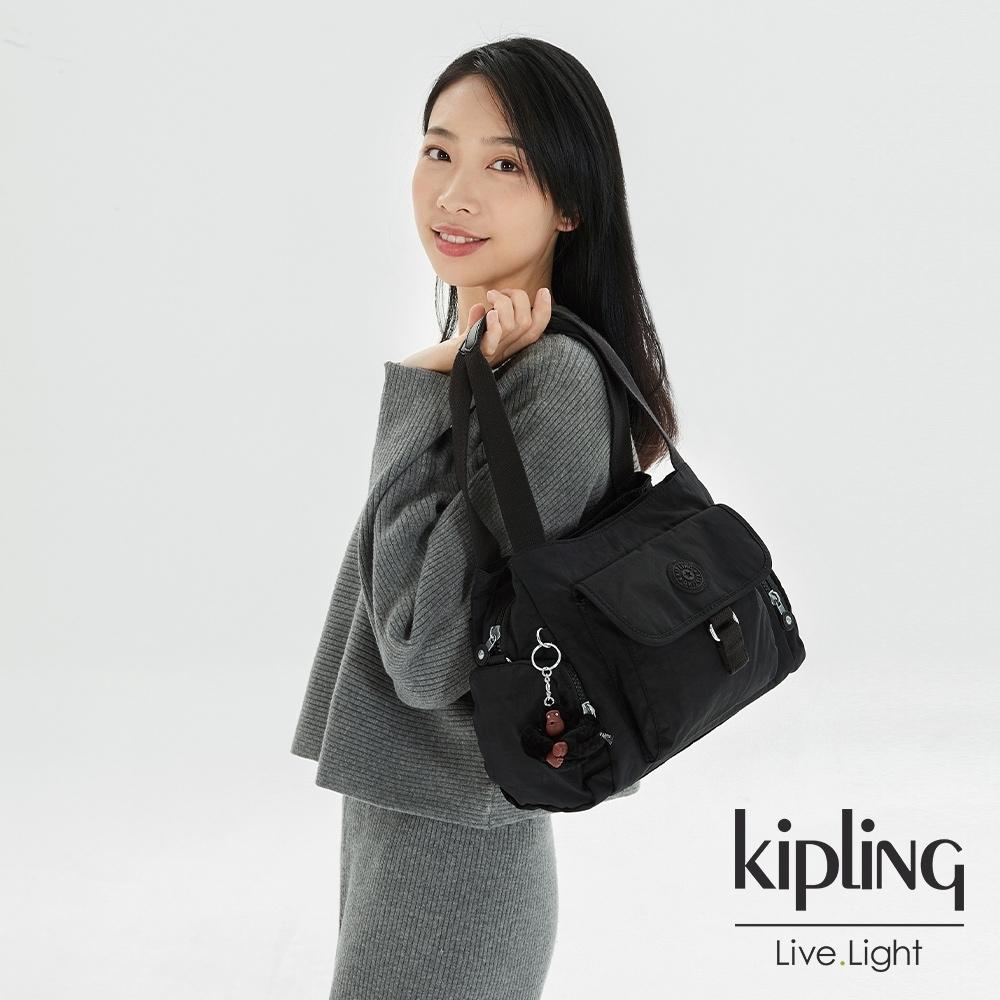 Kipling 質感黑好收納手提兩用斜背包-EIRENE