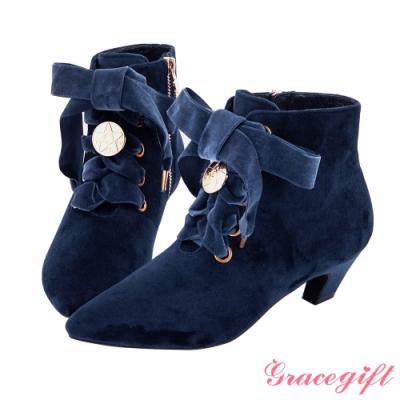 Grace gift-美少女戰士經典變身綁帶短靴 深藍