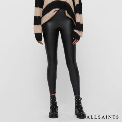 ALLSAINTS CORA 高腰曲線緊身皮褲-黑