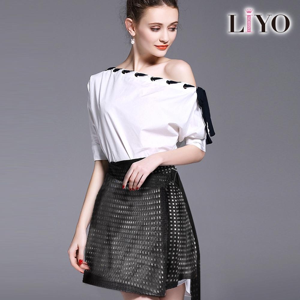 LIYO理優-MIT一字領兩件式歐風鏤空蕾絲寬鬆A字連身裙洋裝 S-XL