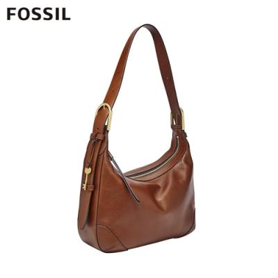 FOSSIL 母親節優惠 HANNAH 金屬扣環可調長度肩揹包-棕色 ZB7888200