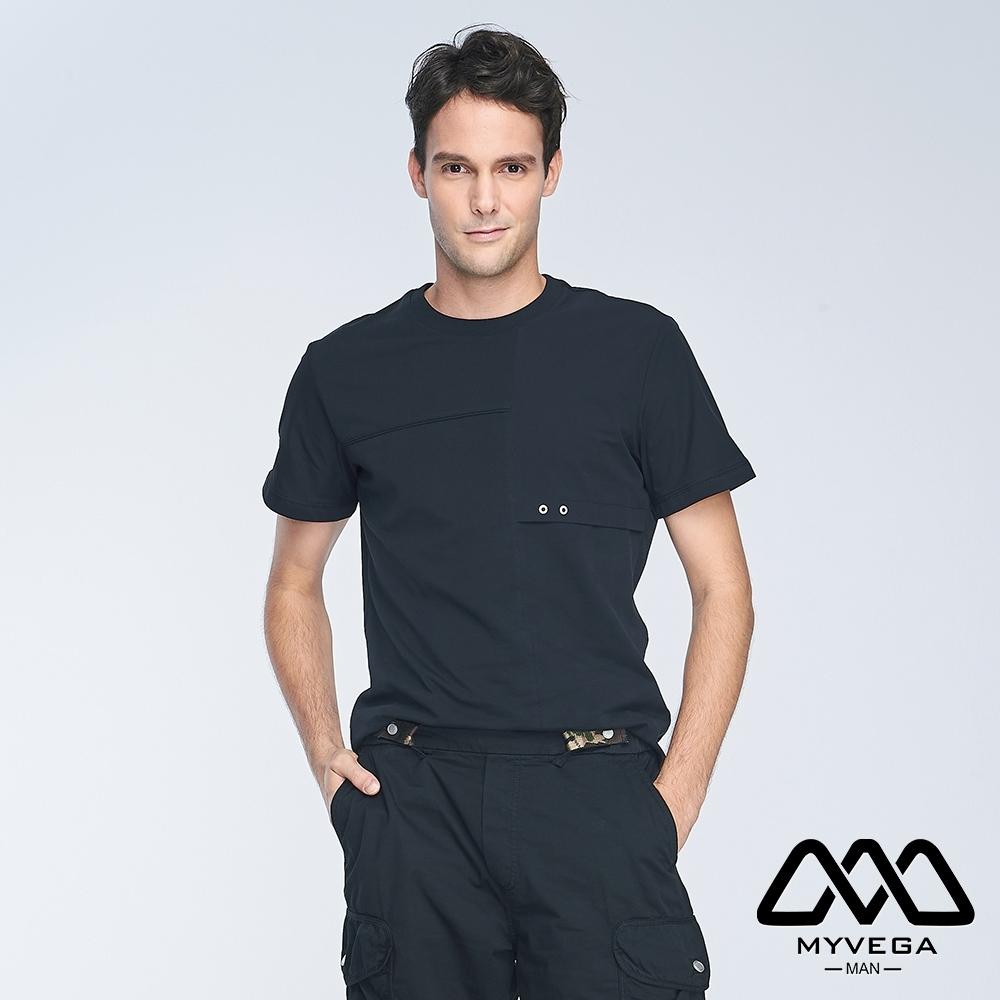 MYVEGA MAN異素材剪接寬鬆短袖T恤-黑