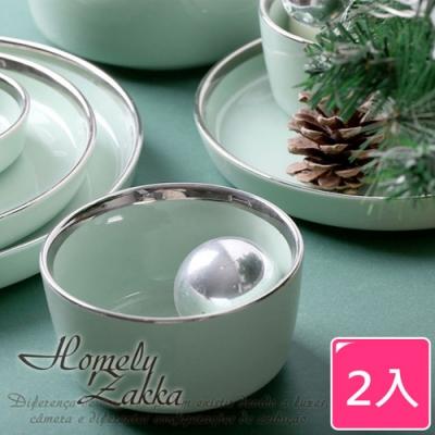 Homely Zakka-北歐輕奢風銀邊陶瓷餐具_圓形飯碗x2件組